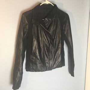 Vegan faux leather jacket, black tailored